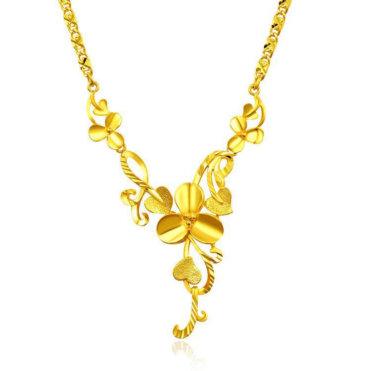Wholesale Large 24k Rose Gold Plated Necklace Female Gold Jewelry ...