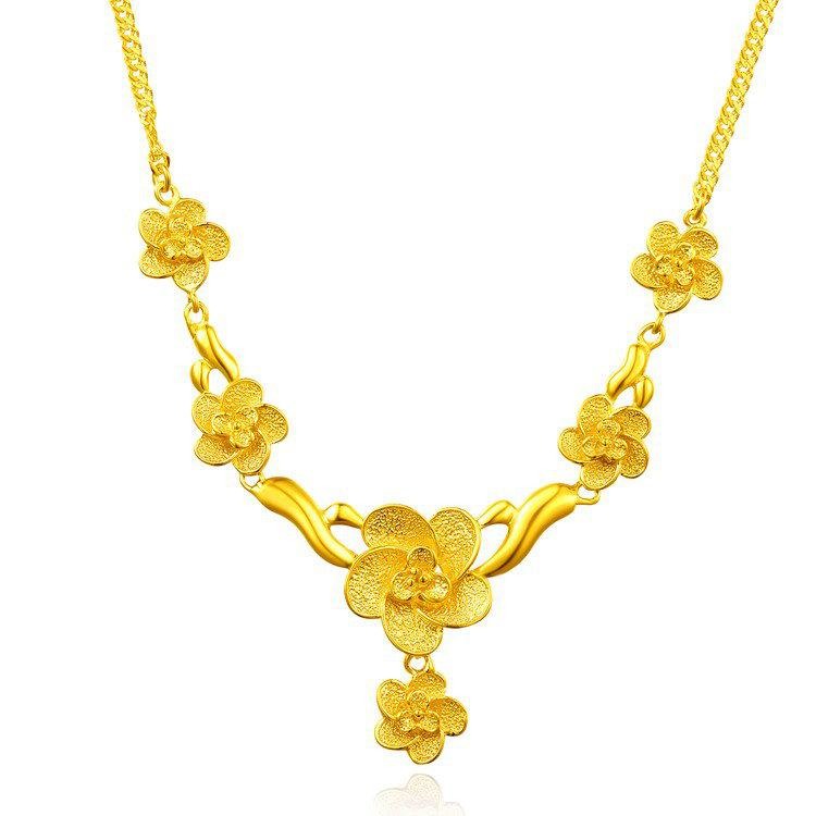 24K Gold-plated Necklace Female Roses Suit Sands Thousands of Gold ...
