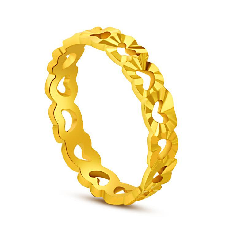 Gold Plated Heart Shaped Ring Hollow Female Models Super Like Real