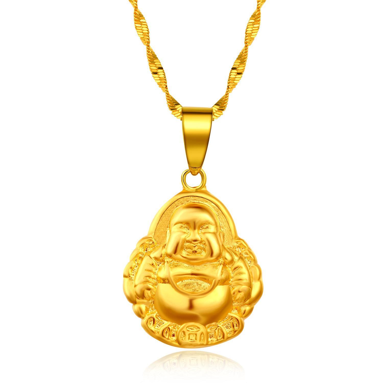 Wholesale Tatu Buddha Necklace Female Gold Plated Solid 24k Gold