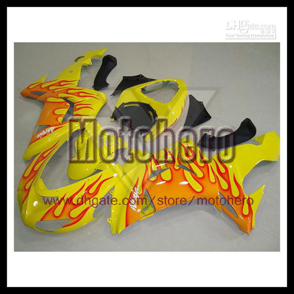 orange flame yellow black fairings for KAWASAKI Ninja ZX 10R 06 07 06-07 ZX10R 2006 2007 ZX-10R 2006-2007 ABS fairing kit s32