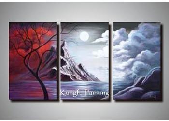 3 panel wall art 100% Handmade Modern 3 Panel Wall Art Canvas Abstract Oil Painting  3 panel wall art