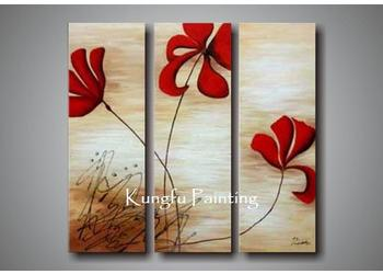 2018 100 handmade modern 3 panel canvas art abstract red flower oil