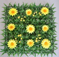 Wholesale Grass Runner - HOT SALE artificial plastic grass mat with yellow daisy flowers table runner wedding party supplies decoration use