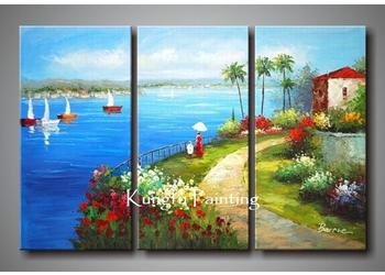 2018 hand painted oil wall art 3 panel canvas decoraton seascape