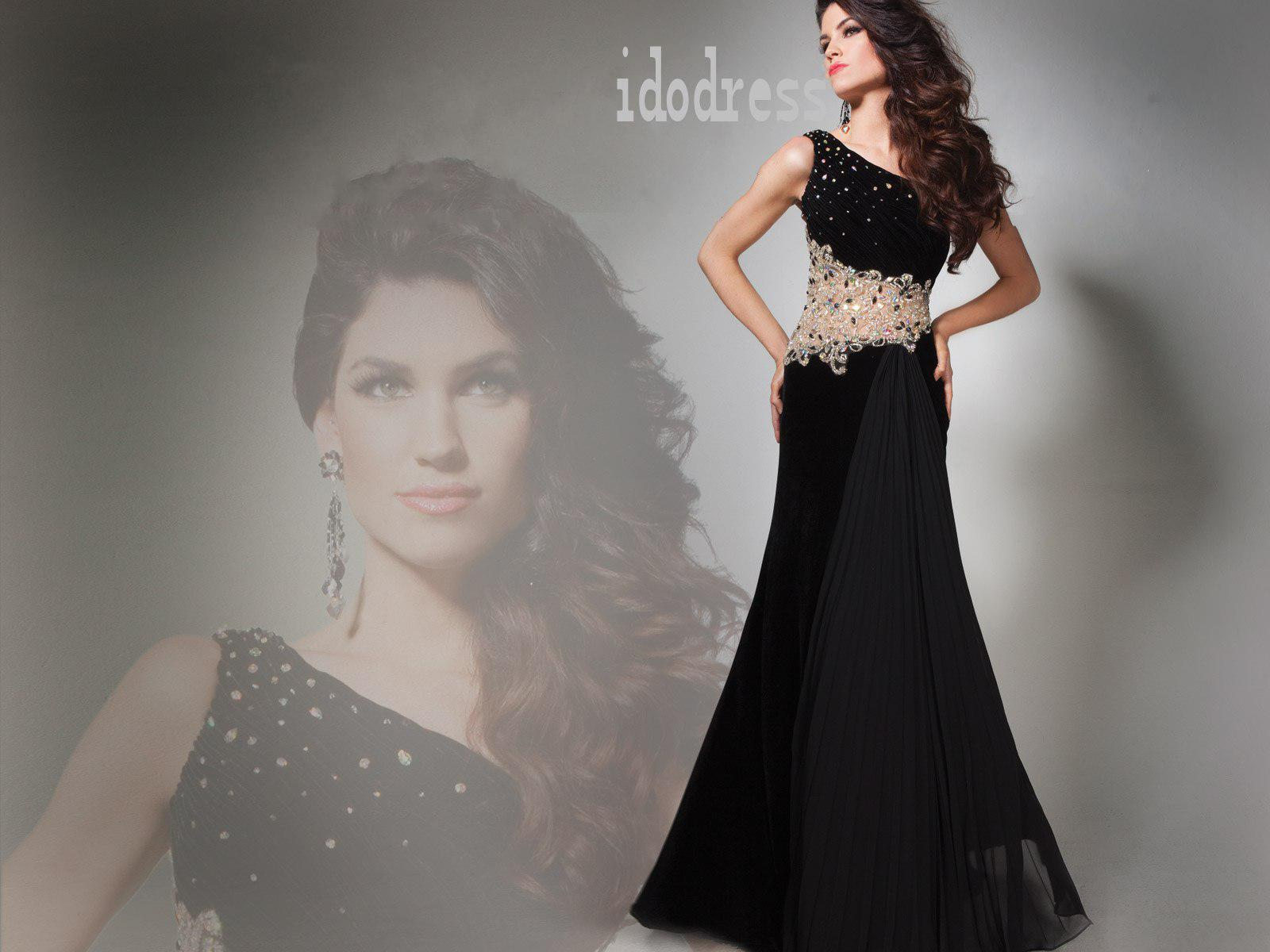 Black One-shoulder Brand-design Evening Dresses 2014 Sheath Column ...