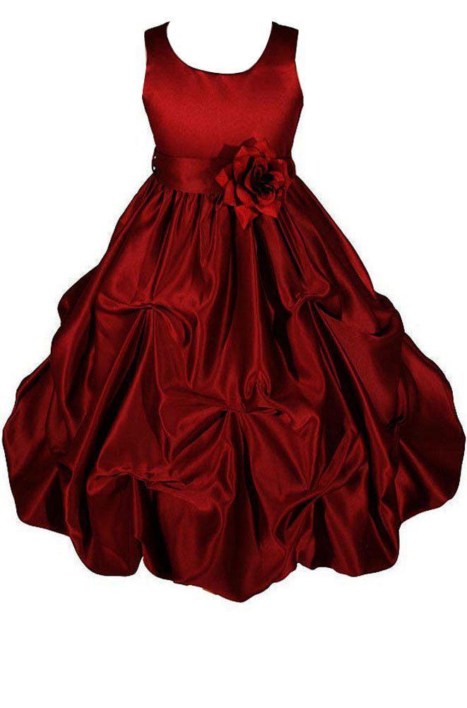 Crimson Satin Flower Girl Dresses