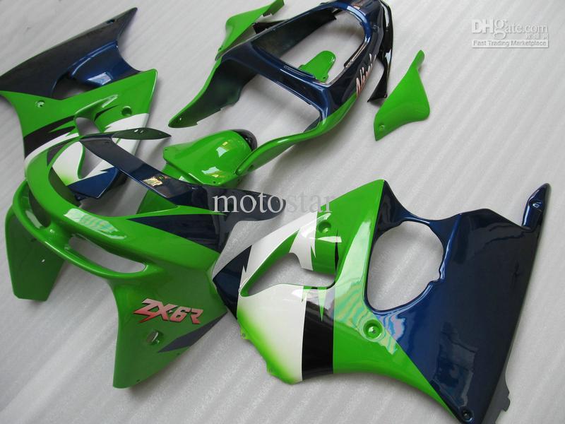 Liberi la nave Kit di carenatura verde blu KAWASAKI Ninja ZX6R 1998 1999 ZX-6R 98-99 ZX6RC 98 99 1998 1999 carene complete