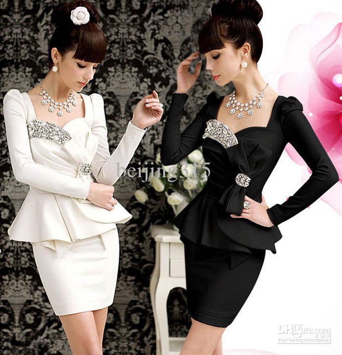 2014 Women Ladies Bling Long Sleeve Peplum Dress Sequined Formal