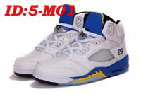 Wholesale Wrestling Shoes Mens Size 13 - 2016 Newest RETRO 5 Mens White Blue Basketball shoes Cheap Wholesale Retro 5 Basketball shoes Running Shoes size:8-13