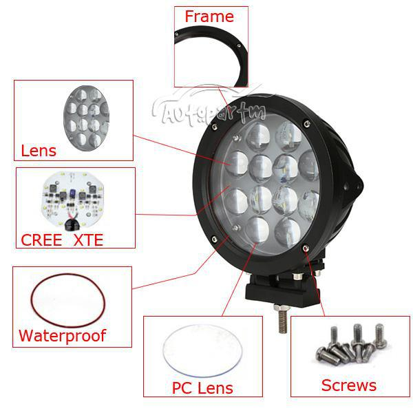"7"" 60W CREE 12LED*5w Driving Work Light Offroad SUV ATV 4WD Spot / Flood Beam 510llm 9-60V Silver / Black Housing Massive Replace HID"