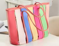 Wholesale Handbag Fluorescent - Women's Transparent handbag Sprkling jelly Boston bag Fluorescent color candy clear shoulder bag Rainbow color single shoulder bag