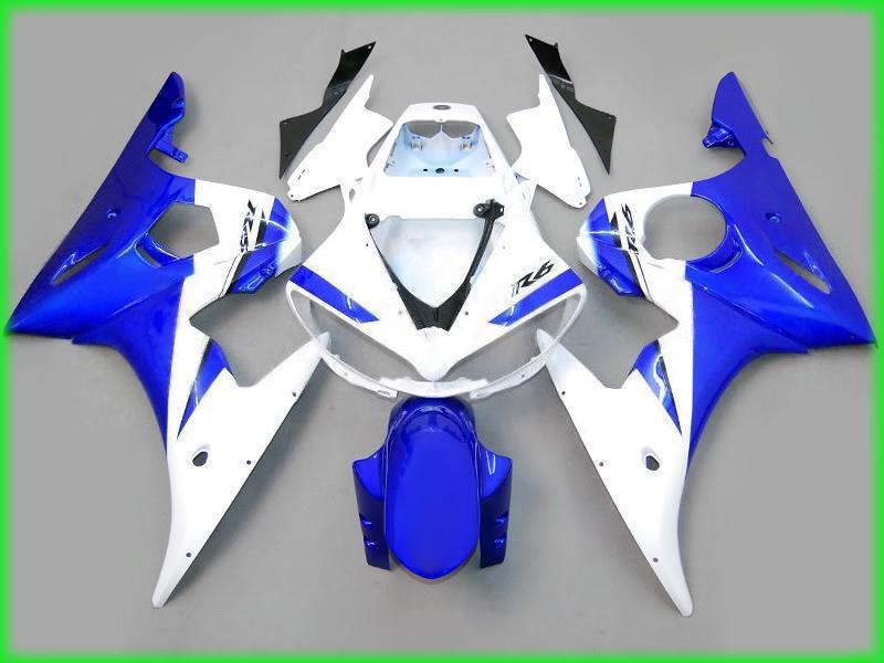 Синий белый кузов обтекатели для yamaha yzf R6 2003 2004 YZFR6 03 04 YZF-R6 полный обтекатель комплекты ветрового стекла