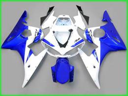 Windscreen For Yamaha R6 Canada - Blue white bodywork fairings for yamaha yzf r6 2003 2004 YZFR6 03 04 YZF-R6 full fairing kits & windscreen