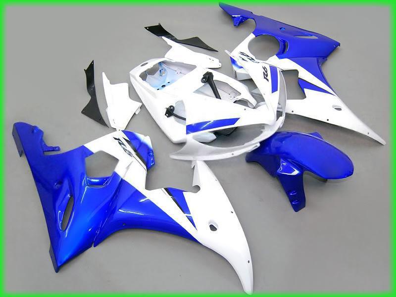 Blue white bodywork fairings for yamaha yzf r6 2003 2004 YZFR6 03 04 YZF-R6 full fairing kits & windscreen