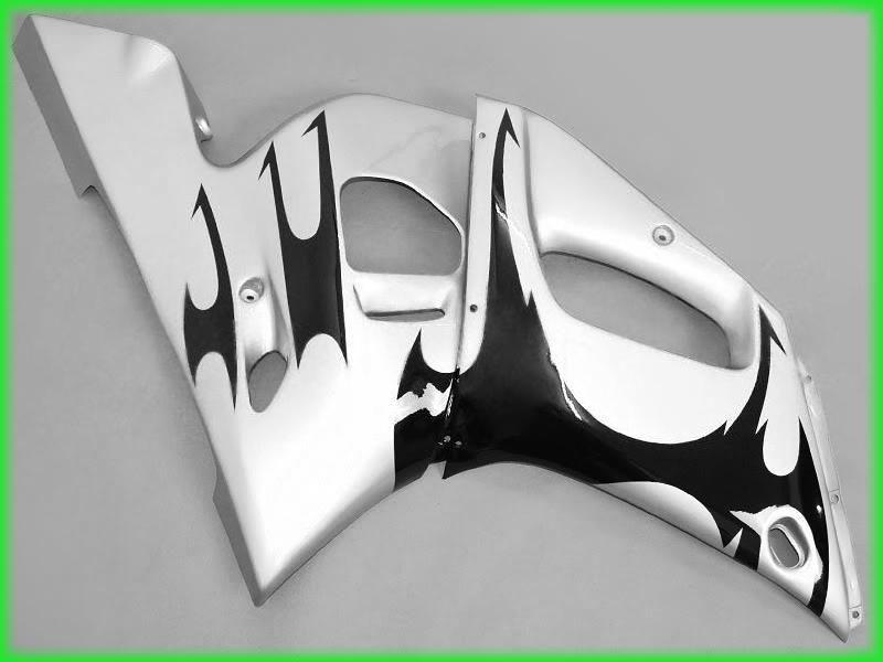Silver / Black Fairings för 1998 1999 2000 2001 2002 YZF R6 YZFR6 YZFR 600 YZF-R6 98 99 00 01 02 Fairing Kit