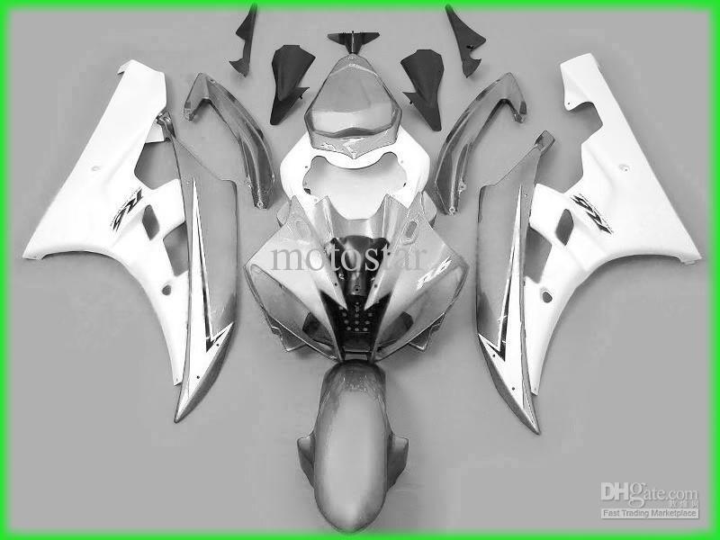 försäljning! Silver Gary Fairings för Yamaha 2006 2007 YZF R6 YZFR6 06 07 YZFR 6 YZF-R6 Full Fairing Kits Bodywork