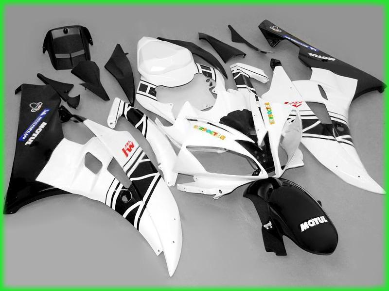 Svart White Fairing för 2006 2007 YZF R6 YZFR6 06 07 YZFR 600 YZF-R6 Yamaha Fairings Kit Bodywork