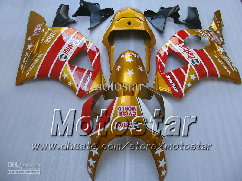 Gold red CASTROL Fairings kit for Honda CBR900RR 954 CBR900 CBR 954RR CBR954 2002 2003 02 03 cbr 900rr motorcycle fairing kits