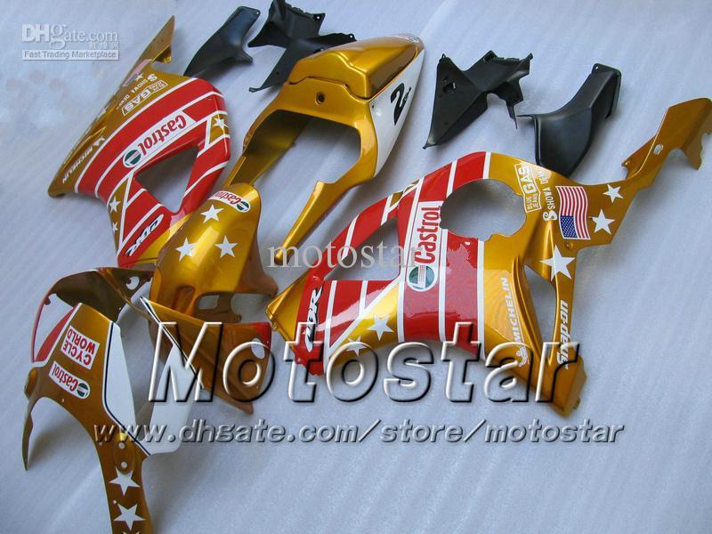 혼다 CBR900RR 954 CBR900 CBR 954RR CBR954 2002 2003 02 03 cbr 900rr 오토바이 페어링 용 금색 CASTROL 페어링 키트