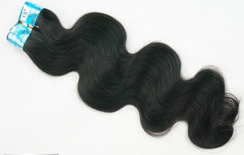 10% de réduction de cheveux humains Weave 100% chinois vierge remy trame humaine extension de cheveux longueur de mélange 12-28 pouces 100% # 1B vague de corps 100g / pcs dhl libre