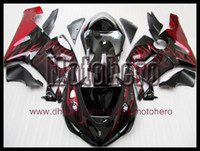 Wholesale Zx6r Kawasaki 636 - Injection molding red flame gloss black for Ninja ZX6R 05 06 05-06 636 ZX636 ZX 6R 2005 2006 fairing kit y66555