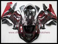Wholesale Gloss Black Kawasaki Zx6r Fairings - Injection molding red flame gloss black for Ninja ZX6R 05 06 05-06 636 ZX636 ZX 6R 2005 2006 fairing kit y66555