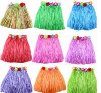 Wholesale Child Grass Skirts - 12pcs lot Children elastic waist grass skirt Hawaiian hula dance fashion show set 30cm40cm60cm