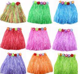 Wholesale Hula Dance - 12pcs lot Children elastic waist grass skirt Hawaiian hula dance fashion show set 30cm40cm60cm