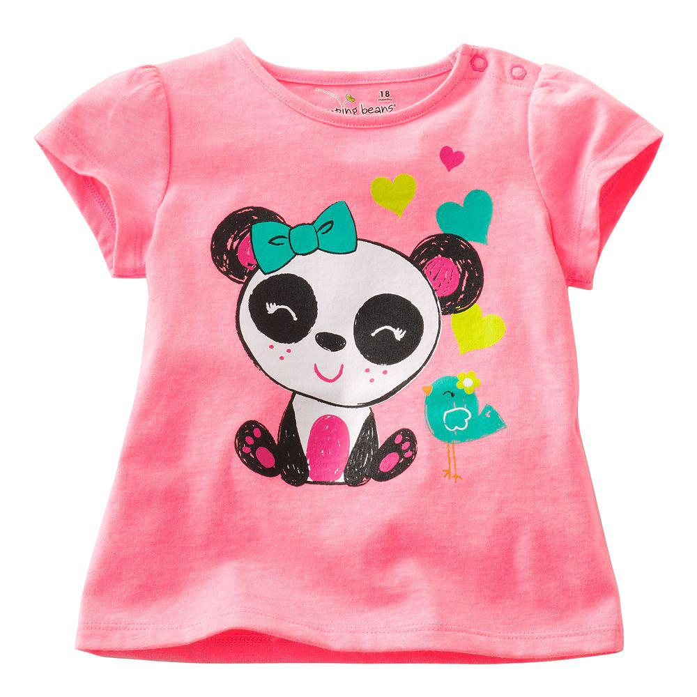 2018 cute newest girls t shirts baby tee shirts panda tank Girl t shirts design