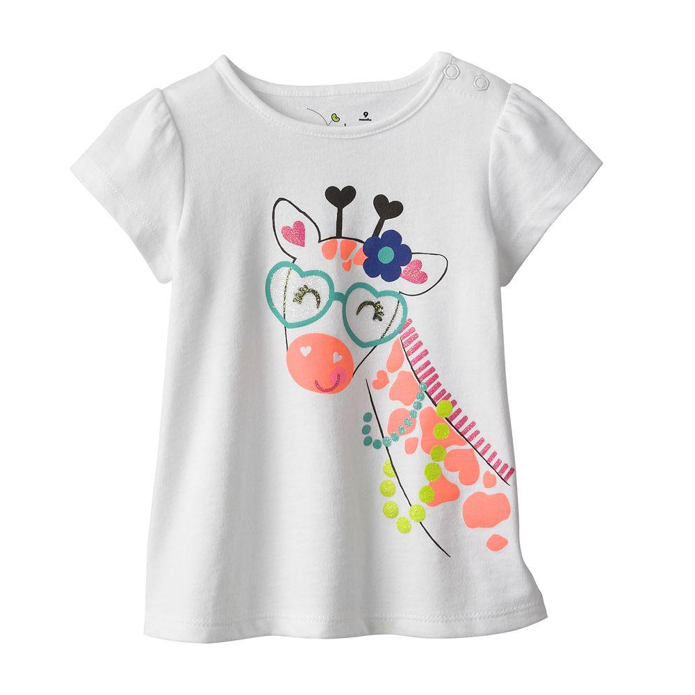 Styles of Baby Girls' T-Shirts. With a variety of styles of baby girls' T-shirts, you can create unique and fun outfits. Long-sleeve T-shirts are a staple for colder weather, while short-sleeve solids pair well with tons of other pieces.