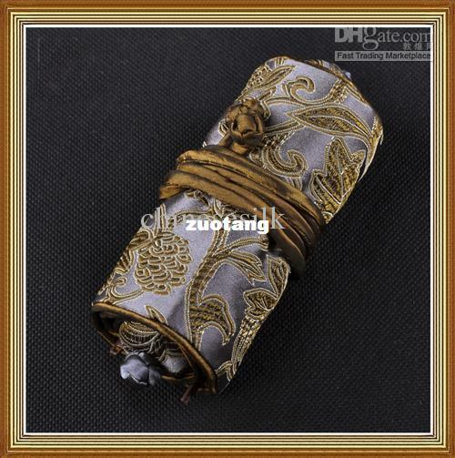 Travel Jewellery Roll Storage Pouch Bag 100% Silk High quality 5pcs/lot mix color Free shipping