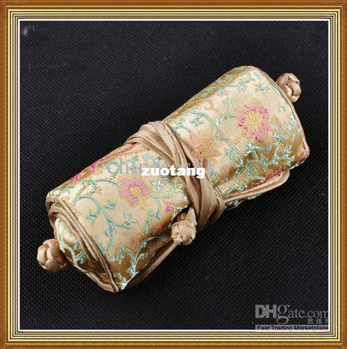 Buy Jewelry Roll Travel Case Storage Bags 100% Silk High quality 5pcs/lot mix color Free shipping