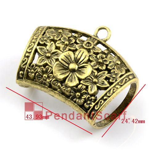12 UNIDS / LOTE, Súper Moda Collar de La Joyería DIY Colgante de La Bufanda Accesorios de Aleación de Bronce Antiguo de la Diapositiva de la Flor Fianzas, Envío Gratis, AC0138B