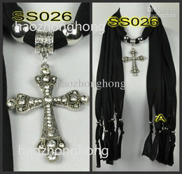 Wholesale Scarf Fashion Beaded Necklaces - diamond cross pendant scarves beaded fringed scarf necklace jewelry pendant soft fabric new 12pcs lot free shippingSS022