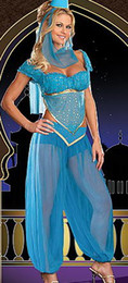 Wholesale Sexy Arabian Dancer Costume - Sexy LINGERIE Belly Dancer Arabian Princess Jasmine Halloween Costume ms7522 size 8-12
