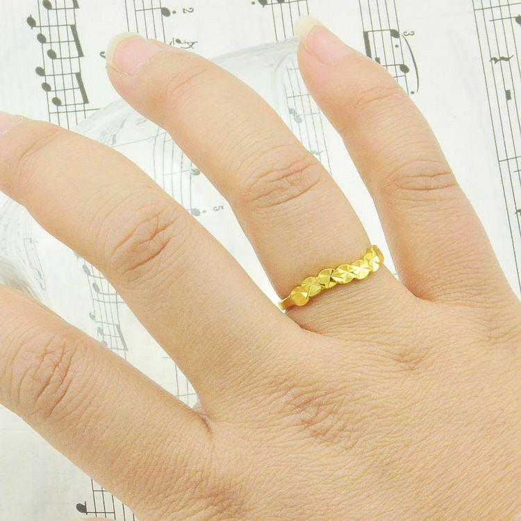 Plated 24K Gold Ring Wavy Leaf Gilded Lady Ring Tail Ring Women ...