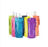 garrafa de água plana dobrável venda por atacado-A garrafa de água vem garrafa de água dobrável, dobrável 0,48 litros anti-garrafa