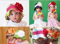 Wholesale Doomagic Baby Hats - 12pcs Doomagic Baby Girl Floppy Clinton Sun Hat Detachable Flower Kids Summer Caps Children Headwear