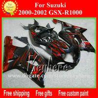 Wholesale K2 Fairing Custom - Free shipping Custom race fairing kit for SUZUKI GSXR1000 2000 2001 2002 GSXR 1000 00 01 02 K2 fairings G6g new red flames motorcycle parts