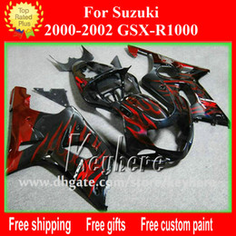 Wholesale race gsxr - Free shipping Custom race fairing kit for SUZUKI GSXR1000 2000 2001 2002 GSXR 1000 00 01 02 K2 fairings G6g new red flames motorcycle parts