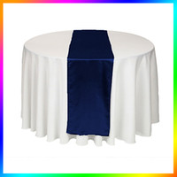 Wholesale Navy Satin Table Runner - Wholesale - 5 Pieces Navy Blue Satin Table Runner for Wedding table Cloth table Runners for Holiday Favor Party Banquet Decoration