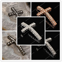 Wholesale Cross Bracelets Rhinestone Paved Connector - 120PCS Wholesale Fashion Clear Pave Crystal Rhinestone Sideways Cross Bracelet Connectors Spacers Jewelry Findings In 6 Color