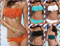 Wholesale Strapless White Fringe Bikini - 16 Colours Beauty Women Favor Padded Boho Fringe Top Strapless Bikini set Sexy Swimsuit Top and Bottoms Swimwear Free Shipping