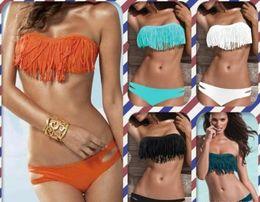 Wholesale White Fringe Swimsuit Top - 16 Colours Beauty Women Favor Padded Boho Fringe Top Strapless Bikini set Sexy Swimsuit Top and Bottoms Swimwear Free Shipping