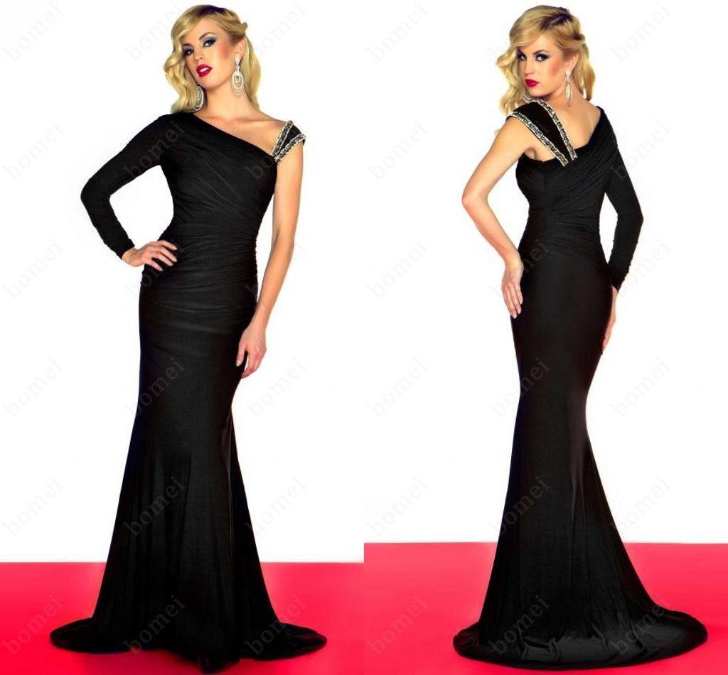 One Shoulder Black Evening Dresses Of Long Sleeves Mermaid ... One Shoulder Black Prom Dress