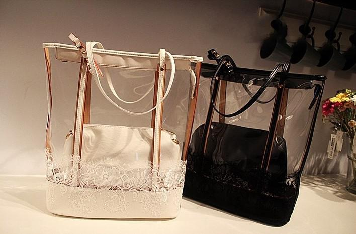 Cheap Handbag Beach Bag Shoulder Bag White Black Color Pvc Lace ...