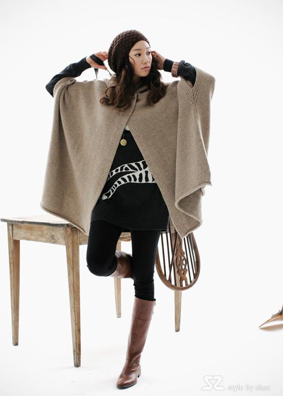 Greatest Womens Winter Loose Knit Hooded Poncho Fashion Beige Dark Grey  AN83