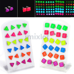 Wholesale Wholesale Red Rhinestone Square Studs - 288pcs(12cards) Colorful Triangle Round Square Heart Star Luminous Earring Ear Stud Earrings with Display [JE06032-JE06036 M*12]