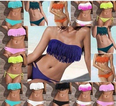 835b33986f 2019 2013 Sexy Lady Padded Boho Fringe Top Strapless Dolly Bikini Swimwear  Multicolor Colors Size S M L Two Piece Swimwear Swimsuit From Vivian5168